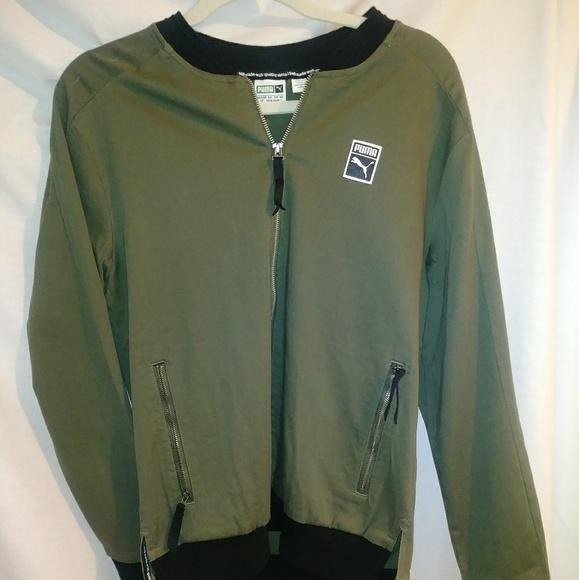 9d15244d5179 Puma Men Woven Jacket Olive Green
